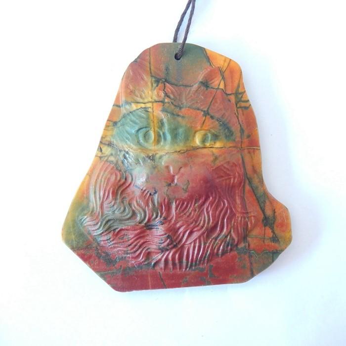 New Design,Cat Head Pendant,Natural Muti Color Picasso Jasper Carved Fortun
