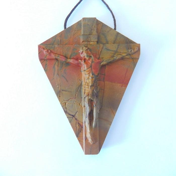 Artcraft,Carved Jesus,Natural Muti Color Picasso Jasper Carved Jesus On The