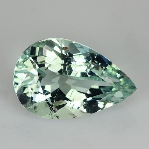 1.89 Cts Natural Mint Green Aquamarine Pear Brazil