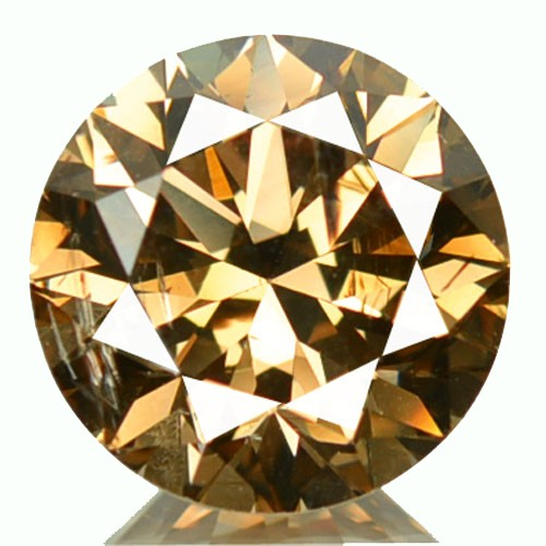2.09 Cts Natural Cognac Brown Diamond 8 mm Round Africa
