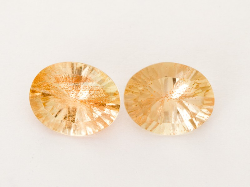 4.60ct Total Weight Champagne Oval Sunstone Pair (S2516)