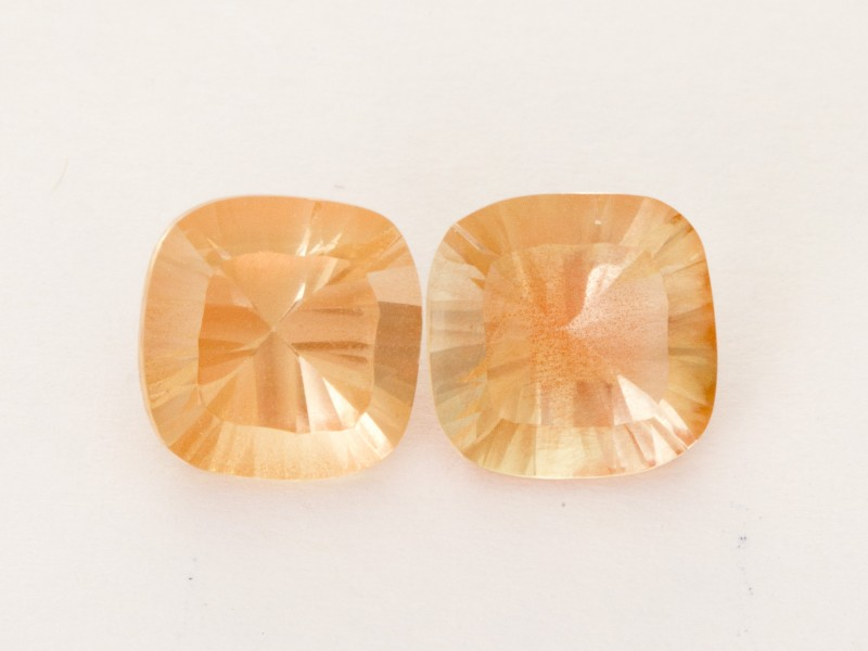 4.30ct Total Weight Champagne Square Cushion Sunstone Pair (S2517)