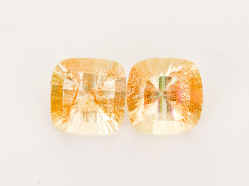 3ct Total Weight Champagne Square Cushion Sunstone Pair (S2519)