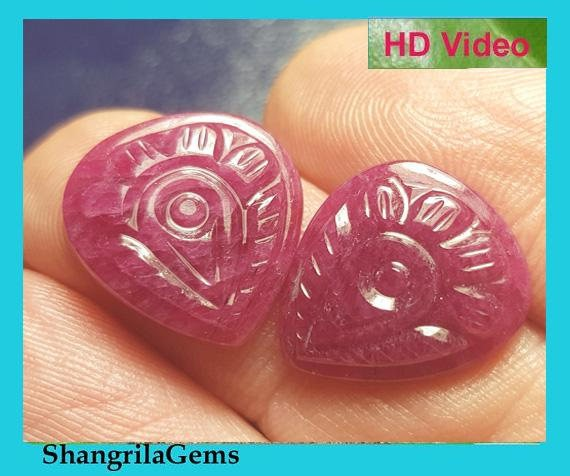 15.5mm Ruby Pair heart shape carved gemstones 15.2ct