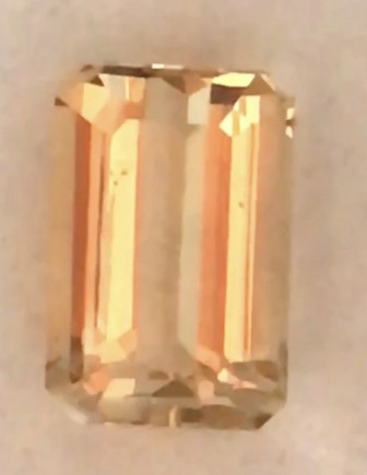 5.6ct Emerald Cut Orangey  Peach Morganite  - Brazil  A571 H664