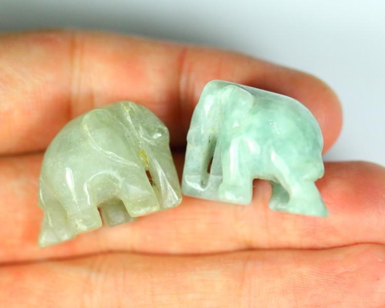 102.0Ct Natural Grade A 2Pcs Elephant Green Jadeite Jade