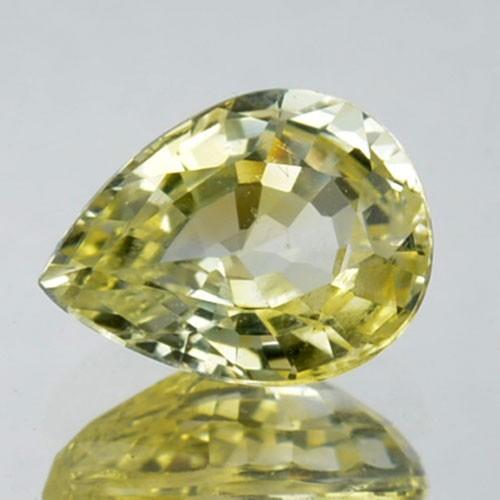 CERTIFIED 1.47 Cts Natural Corundum UNHEATED Yellow Sapphire Pear