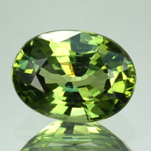 UNHEATED 0.90 Cts Natural Corundum Green Sapphire Oval Africa