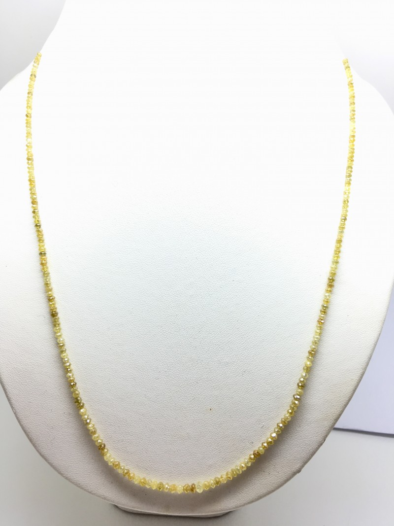 23.65 Crt Natural Yellow Diamond Faceted Beads Necklace