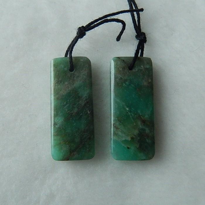 21ct Handmade Amazonite Earring Pair 24x10x3mm,4.2g(18030807)
