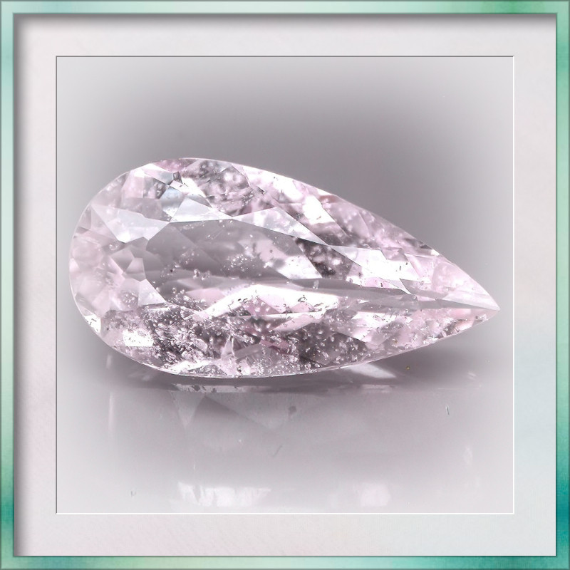 11.25ct Silver Pink Morganite Gem Looks like Pale Pink Ice Large stone