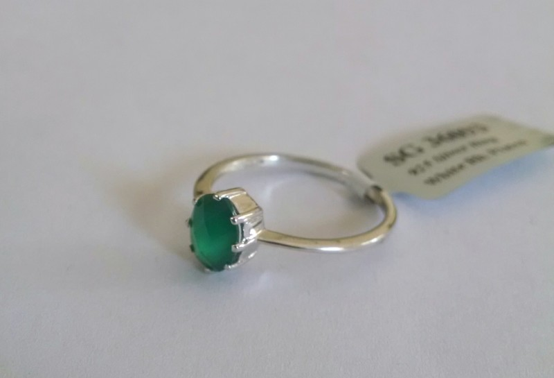 Green onyx 925 Sterling silver ring #36093