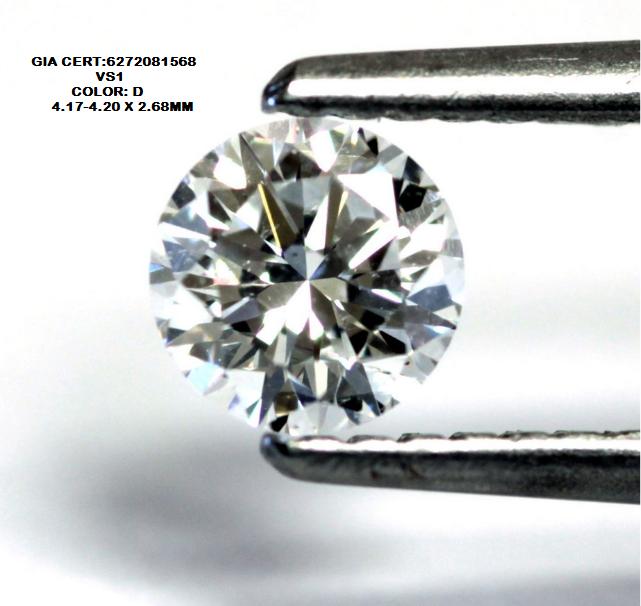 0.3ct D COLOR GIA certified VS1 White Diamond