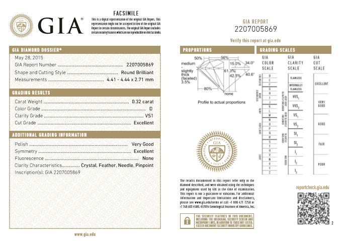 0.32ct D Color GIA certified VS1 White Diamond