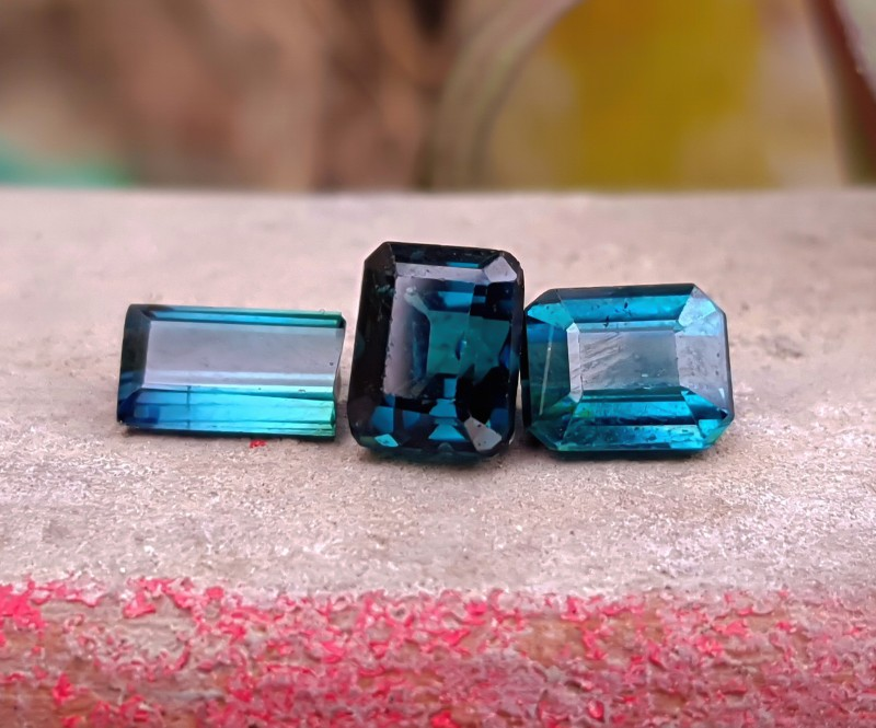 2.70 Cts Superb Quality Blue Tourmaline 3 Cut Stones For Jewelery