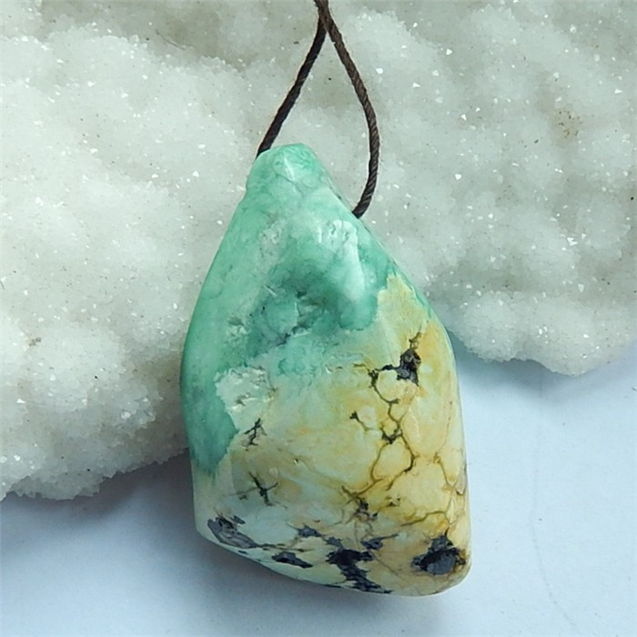 137ctNatural Turquoise Gemstone Rough Drilled Pendant(18030808)