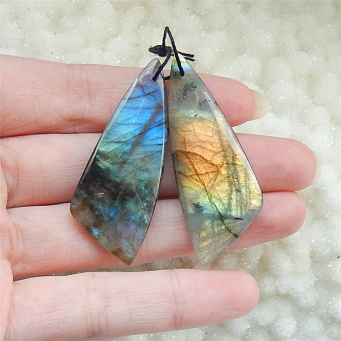 63ct Natural Labradorite Drilled Earring Beads (18031006)