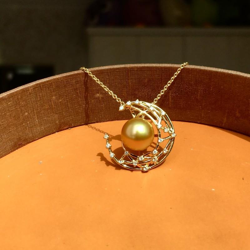 18k Gold  South Sea Golden Pearl&Diamonds Pendant