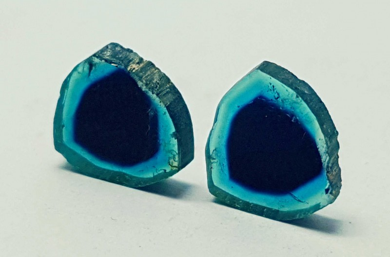 3.55cts  SUPERB QUALITY WATERMELON TOURMALINE BLUE SLICES PAIR