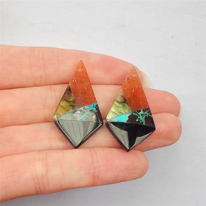 14.5ct Labradorite,Sun Stone ,Chrysocolla  And Obsidian Intarsia Earring Pa