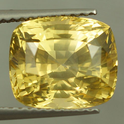 6.13 ct GIA Certified Natural Unheated Untreated Cushion Shape Yellow Sapph