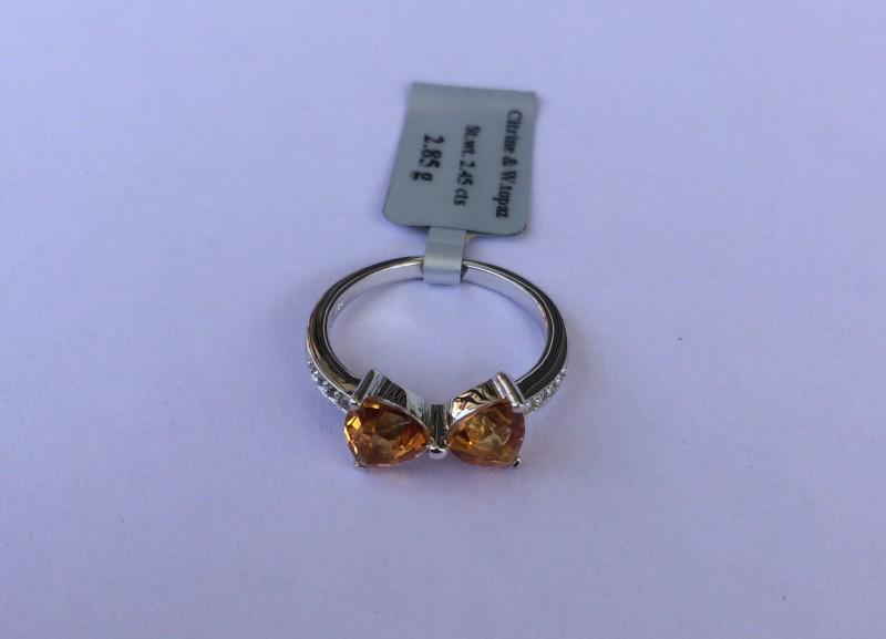 Citrine Sterling silver ring #563