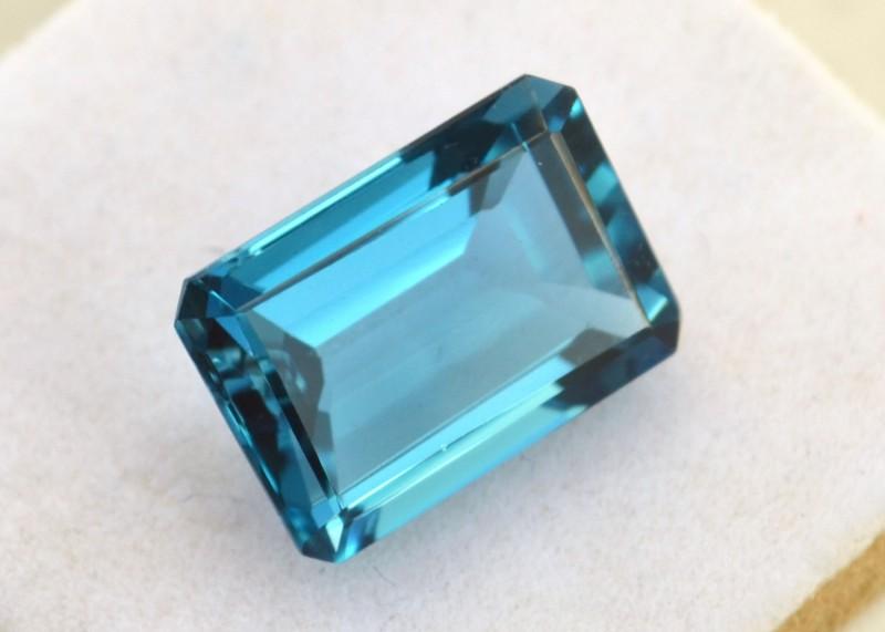 9.19 Carat Octagon Cut London Blue Topaz