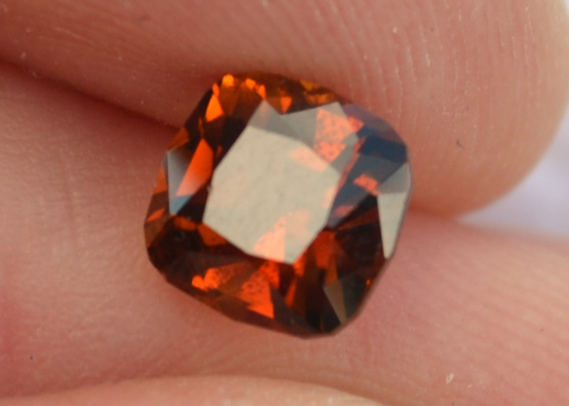 2.05 Carat Very Fine Fancy Cushion Cut Orange Dravite Tourmaline