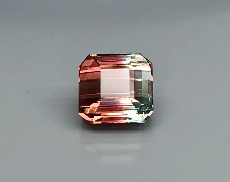4.55 CT Natural Bi Color Tourmaline   Beautiful Faceted Gemstone S31