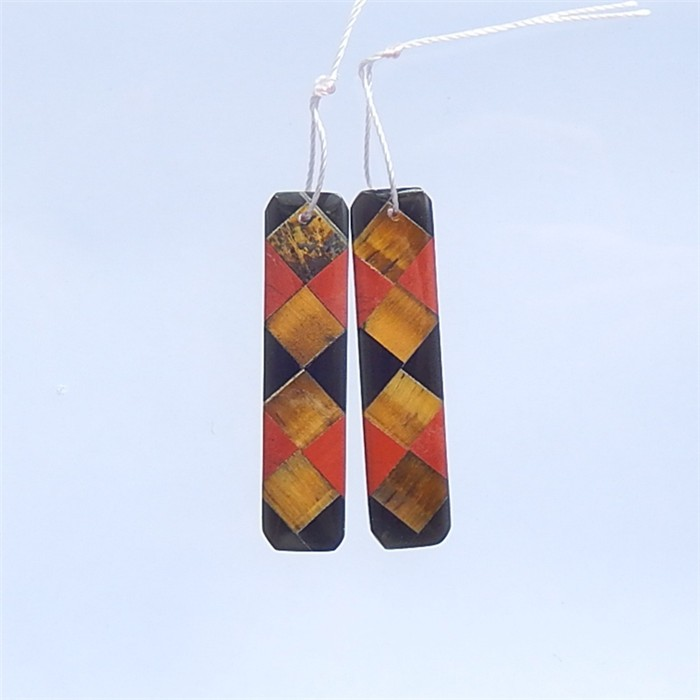 22ct Red River Jasper, Tiger Eye  And Obsidian Earring Pair(18032117)