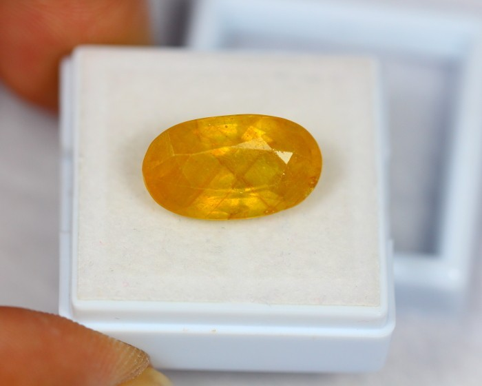 9.75Ct Natural Yellow Sapphire Oval Cut Lot V1080