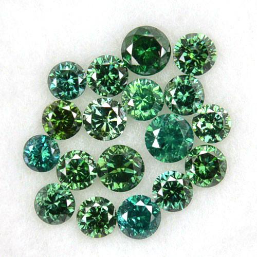 0.84 Cts Natural Green Diamond Round 18 Pcs Parcel