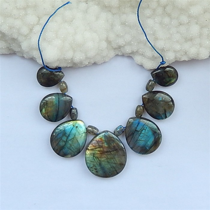 293.5ct Natural Labradorite Teardrop Loose Beads Necklace35X30X9mm , 8X8X6m