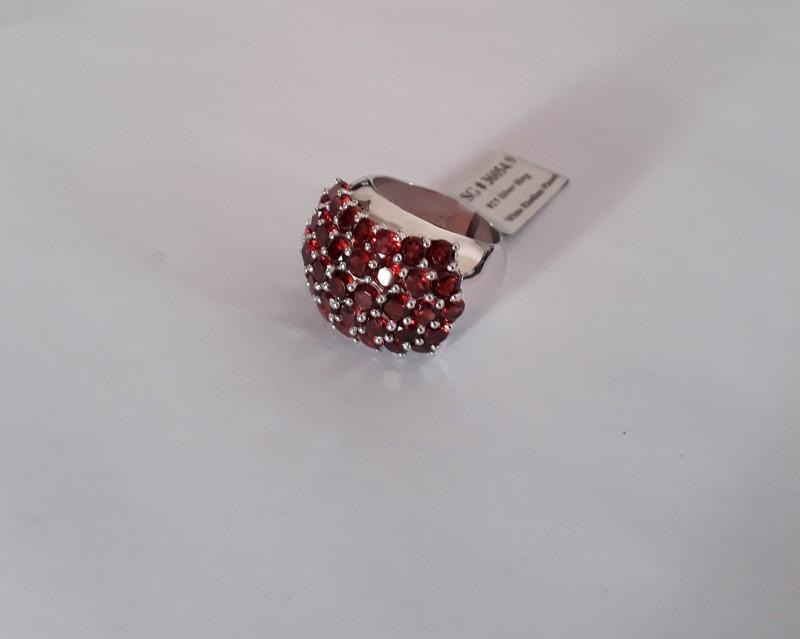 Garnet 925 Sterling silver ring #054