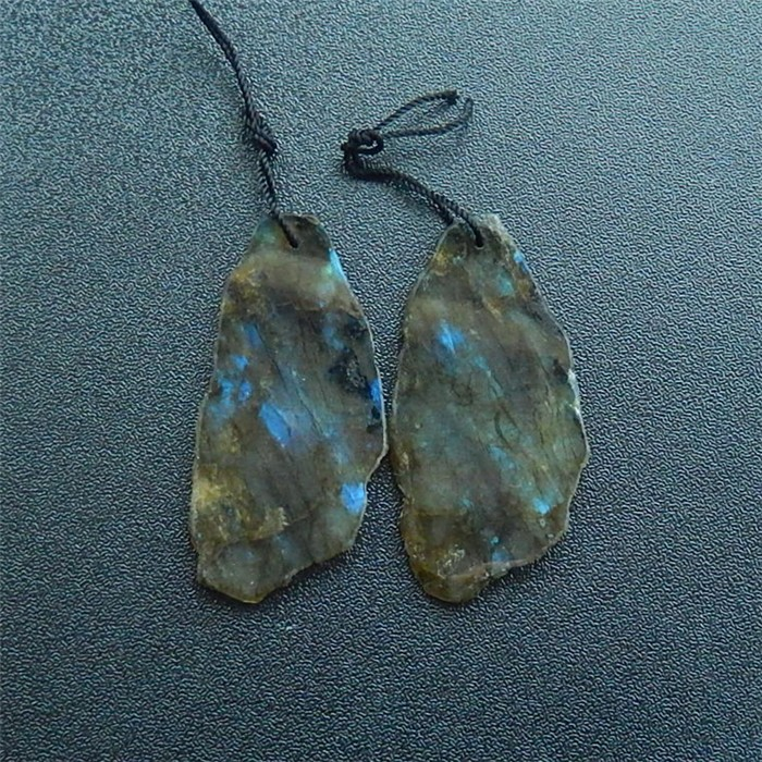 72ct Natural Labradorite Earring Pair(18032610)