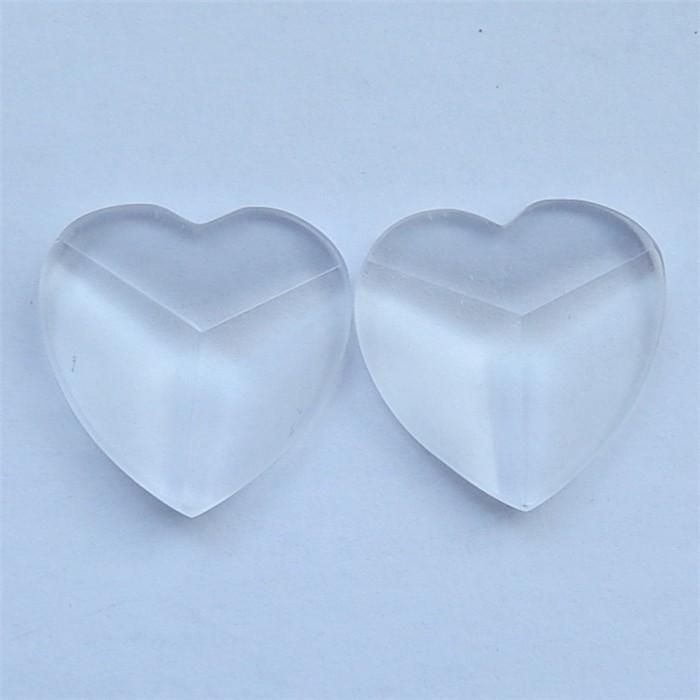 62.7ct Natural Drusy White Quartz Heart Shape Caobchon Pair(18032611)
