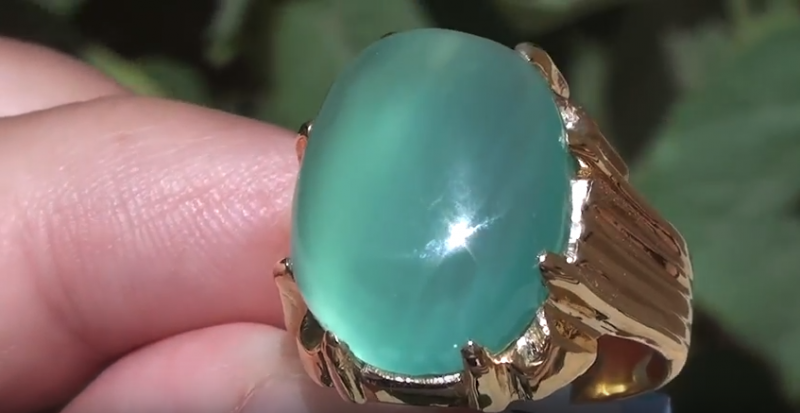 Cats Eye Green Calcite 13.49ct 18ct Solid Gold Ring