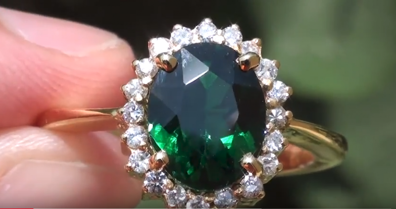 Tsavorite 3.60ct with Diamonds 18ct Solid Gold Ring