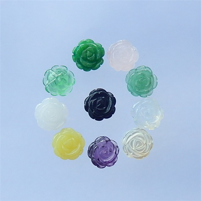 46ct 10Pcs  Rose Quartz .Obsidian. Indian Green Aventurine And Drusy White