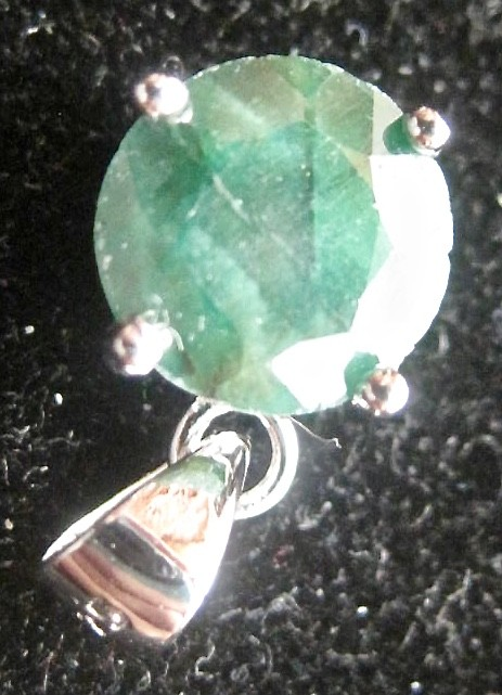 3.50 carat dyed faceted Genuine Green Emerald Pendant over silver
