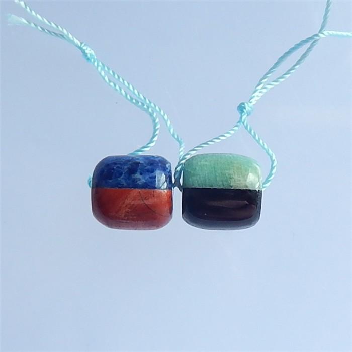 26.5ct Lapis Lazuli.Red River Jasper.Obsidian Ana Amazonite Intarsia Earrin