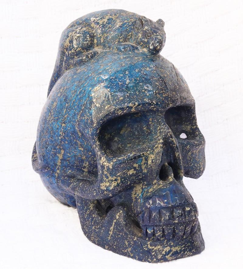 2.8 kilo Rat on lapis Lazuli   Gemstone  Skull  with air holes  SU 1142