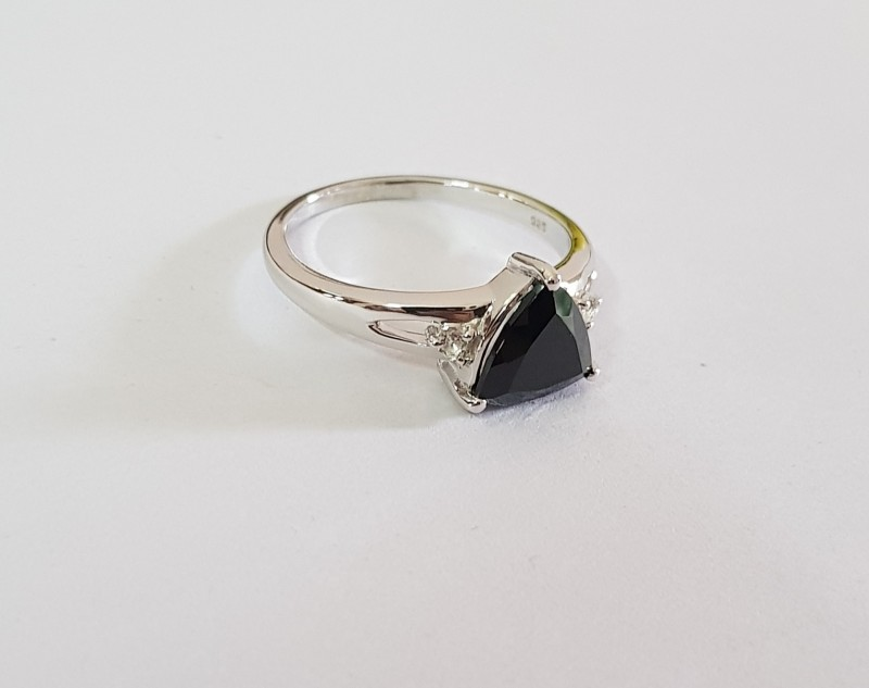 Trillion black spinel sterling silver ring #612