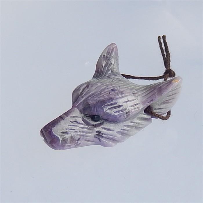 61ct New Design Purple Agate Craved wolf head Pendant(18040808)