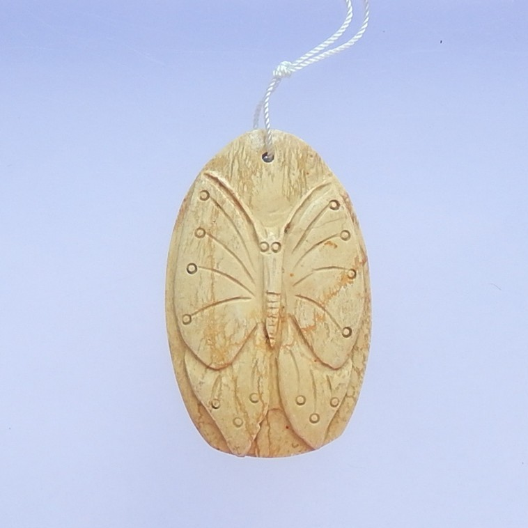 81ct New Design  Picture Jasper Craved Butterfly Pendant (18041011)