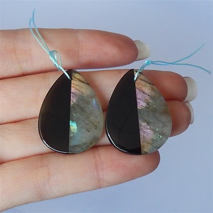 37.5ct Fashion Teardrop Obsidian And Labradorite Intarsia Earring Pair(1804