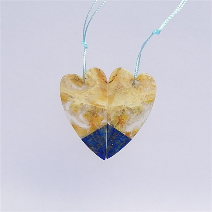 37.5ct New Design Lapis Lazuli And Bamboo Agate Heart Shape Earring Pair(18