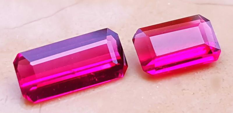 1.60 Cts Rubelite  Pair Pinkish Red Color Gemstone~~~ Madagascar