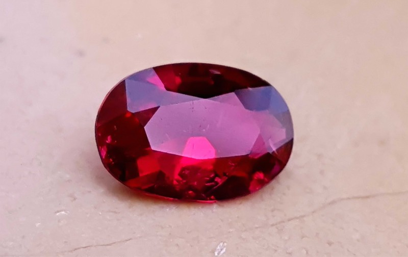 1.20 Cts Rubelite Tourmaline Oval Cut Reddish Color Gemstone~~~ Included