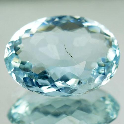 2.02 Cts Natural Sea Blue Aquamarine Oval Cut Brazil Gem